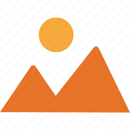 hill station, mountain, nature, sun icon