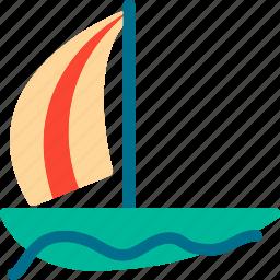 boat, sailboat, ship, travel icon