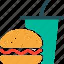 burger, drink, fast food, junk food