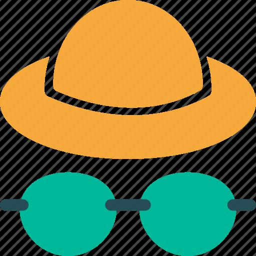 eyeglasses, hat, tourist, traveler icon