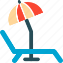 beach, deck chair, travel, umbrella icon