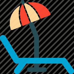 beach, deck chair, travel, umbrella icon