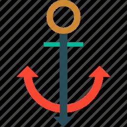 anchor, nautical, sea anchor, ship anchor icon