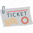 air ticket, attach, paper clip, ticket icon