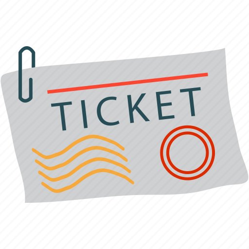 air ticket, attach, paper clip, ticket icon