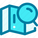 location, magnifier, map, navigation, search, searching, sitemap icon