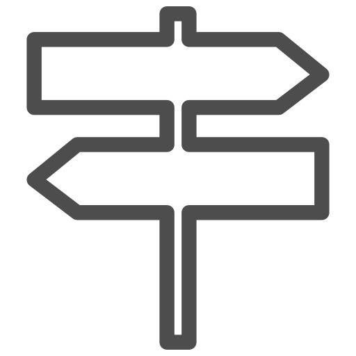 arrow, direction, east, north, road, sign, south icon