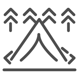 adventure, camping, forest, lake, mountains, nature, tent icon
