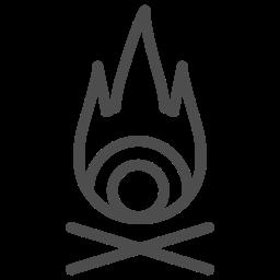 bonfire, fire, hot, journey, light, travelling, wood icon