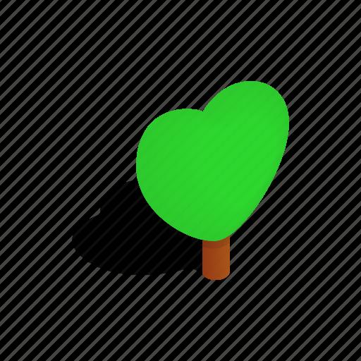 heart, isometric, nature, plant, shadow, shape, tree icon