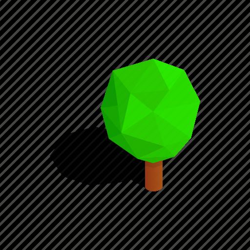 isometric, leaf, nature, plant, shadow, tree, triangular icon