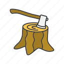 axe, hatchet, root, stump, tree, wood, woodcut icon