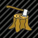 axe, root, stump, tree, wood, woodcut, hatchet