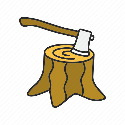 Axe, root, stump, tree, wood, woodcut, hatchet icon - Download on Iconfinder