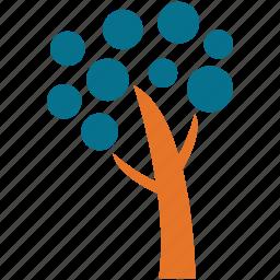 dotted leafs, generic tree, invasive shrub tree, tree icon