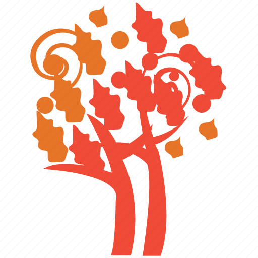 autumn tree, fall in tree, plant, spiral leafs icon