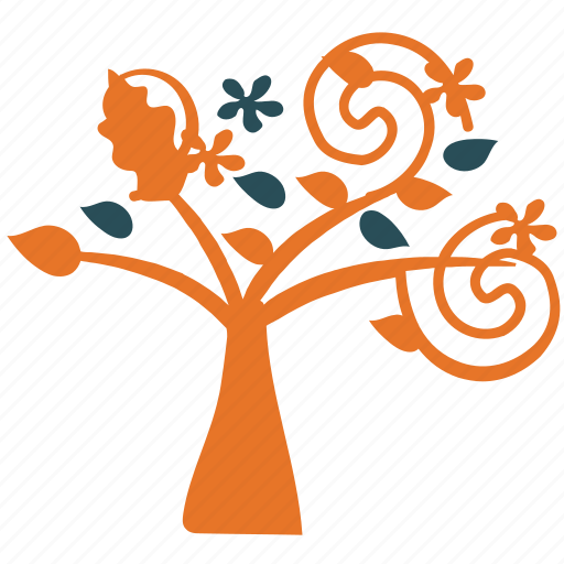 ecology, nature, tree, tree with spirals icon