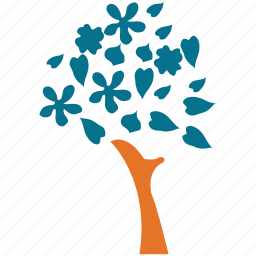 generic, leaf and flowers, leafy, spring tree icon