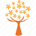 flowering tree, spreading form, spring tree, tree icon