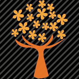 flowering tree, spreading form, spring tree, tree icon