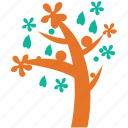 irregular form, leafs and flower, spring tree, tree icon