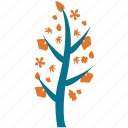 generic, leafy, tree, leaves and flowers