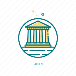 athens, greek, landmark, parthenon, temple, travel, trendy icon