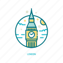 bigben, england, landmark, london, tower, travel, trendy icon
