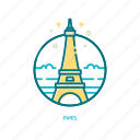 eiffel, french, landmark, paris, tower, travel, trendy icon