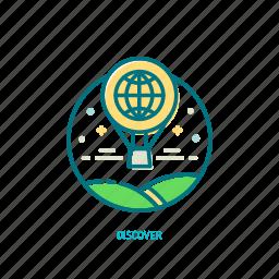 adventure, balloon, discover, journey, travel, trendy, trip icon