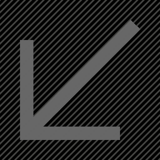 arrow, bottom left, corner, diagonal, direction, down left, southwest icon