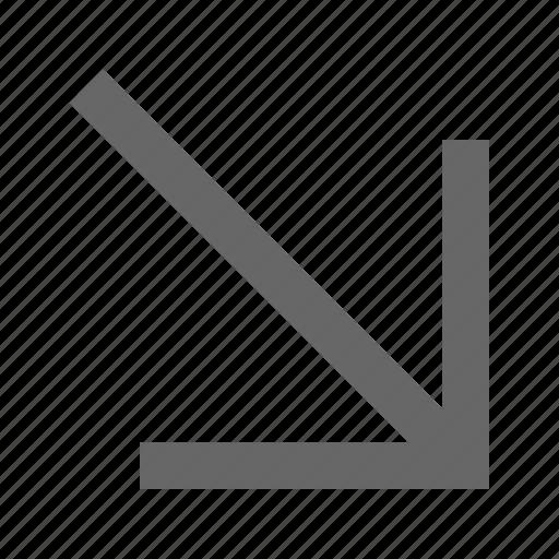 arrow, bottom right, corner, diagonal, direction, down right, southeast icon