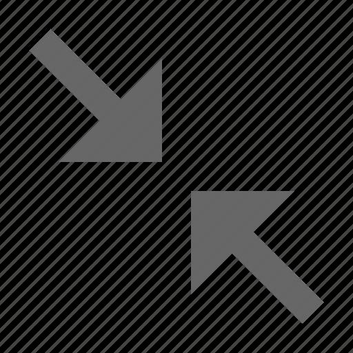 arrow, collapse, condense, diagonal, direction, exit fullscreen, shrink icon