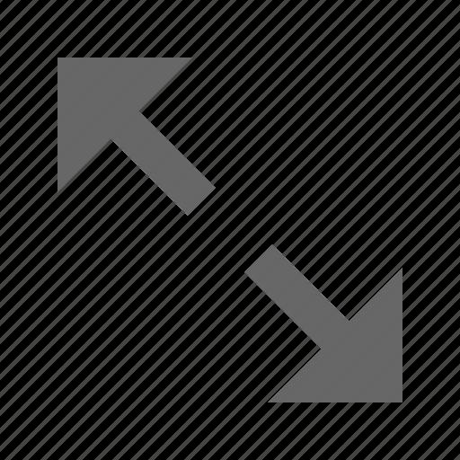 arrow, diagonal, directin, expand, fullscreen, maximize, rezise icon