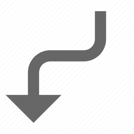 arrow, bend, direction, down, download, south, turn icon