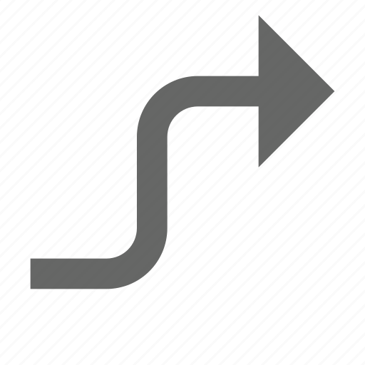 arrow, bend, direction, east, forward, right, turn icon