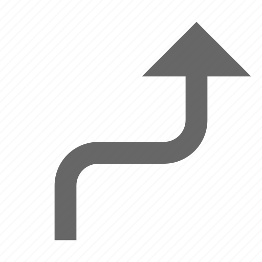 arrow, bend, direction, north, top, turn, up icon