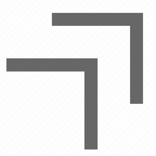 chevron, corner, direction, northeast, top right, up right icon