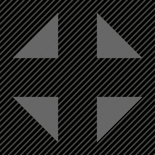 collapse, condense, exit fullscree, move, resize, shrink, triangles icon