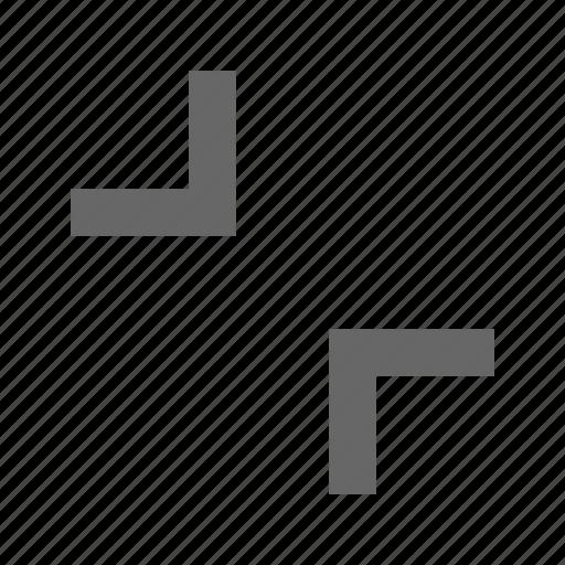 collapse, condense, corners, diagonal, exit fullscreen, minimize, shrink icon