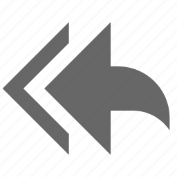 arrow, back, left, previous, reply, reply all, west icon