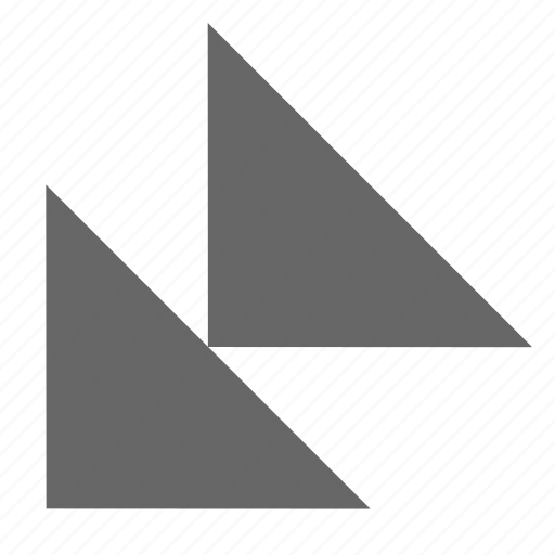 bottom left, corner, direction, down left, southwest, triangle icon