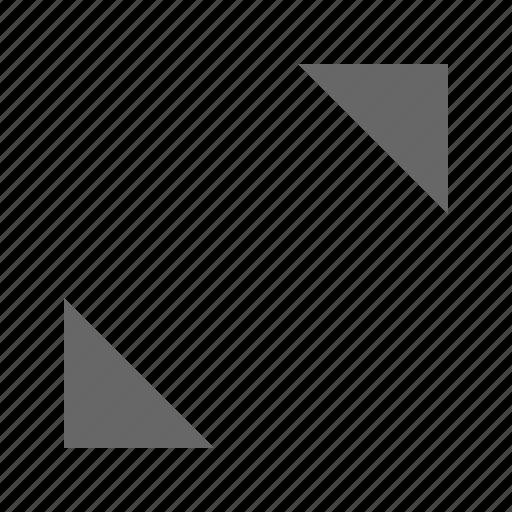 corners, diagonal, direction, expand, fullscreen, maximize, triangle icon