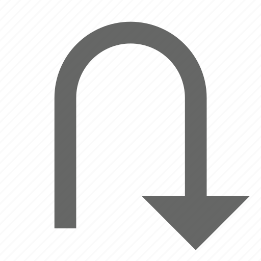 arrow, bottom, direction, down, download, south, turn icon