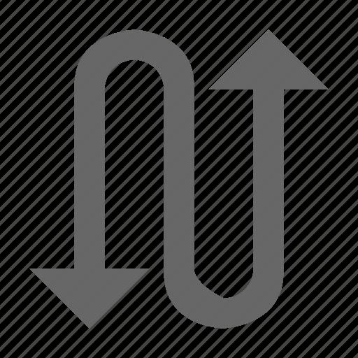 arrow, snake, turn, twist, up down, zag, zig icon