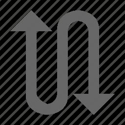 direction, snake, turn, twist, up down, zag, zig icon