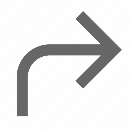 arrow, direction, east, forward, next, right, turn icon