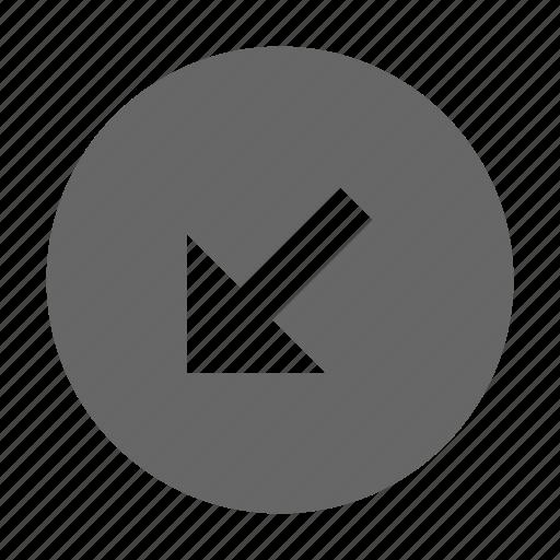 arrow, bottom left, diagonal, direction, down left, navigation, southwest icon