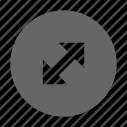 arrow, corners, diagonal, expand, fullscreen, maximize, size icon