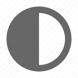 circle, contrast, highlight, semicircle, shadow icon